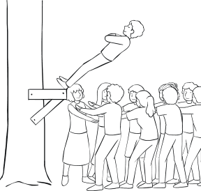Illustration of group participating in Trust Fall challenge course element