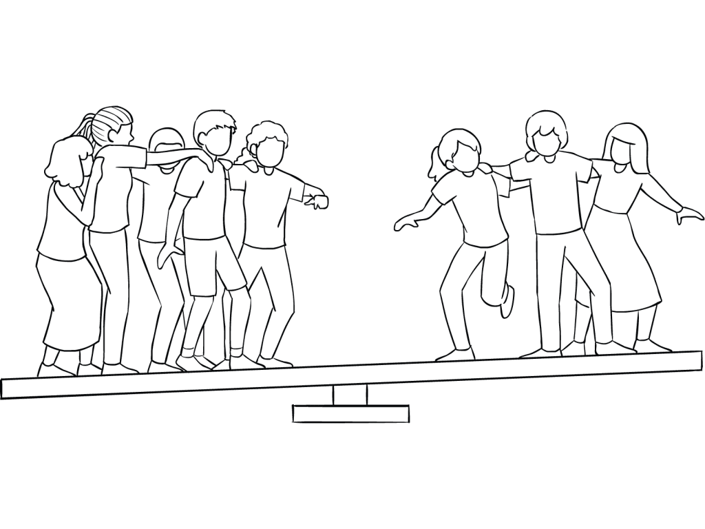 Illustration of group participating on Whale Watch challenge course element