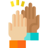 Illustration of two hands doing a high 5