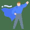 Illustration of confident man in cape