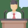 Illustration of man speaking from podium