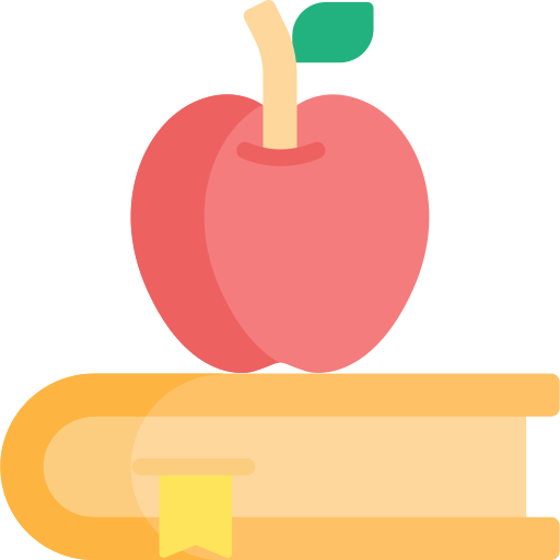Illustration of school book and apple