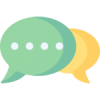 Illustration of two talking bubbles