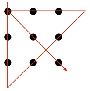 Nine dots diagram with four lines