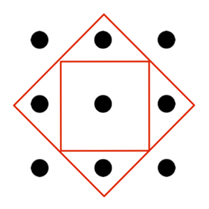 Nine dots diagram with two squares