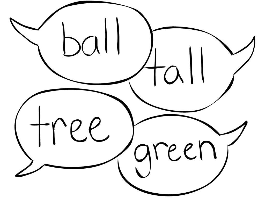 Four talkee bubbles with words as played in Rhyme or Reason