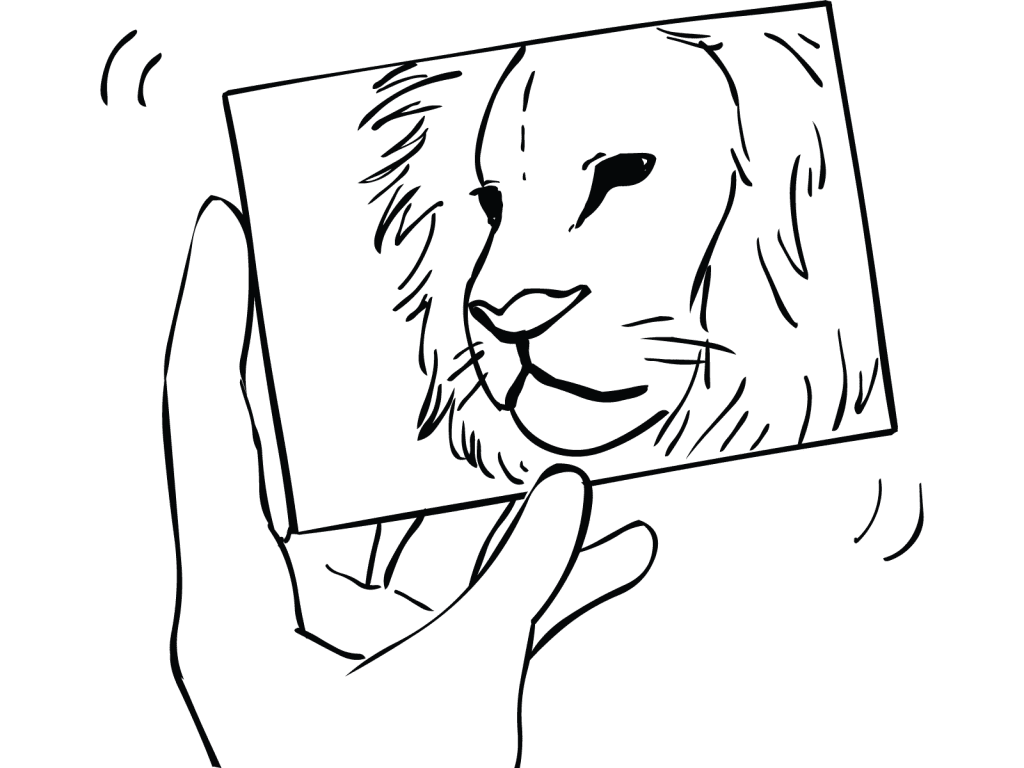 Hand holding a photo of a lion as part of Panic Picture game