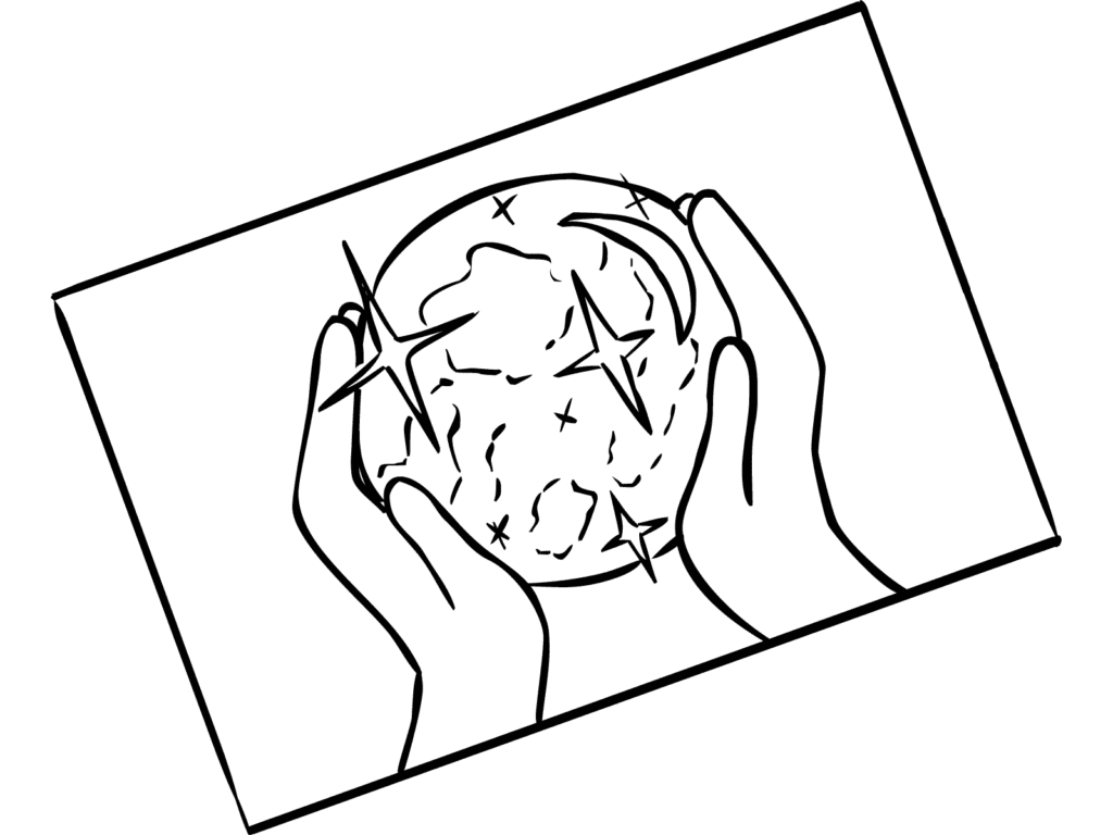 Illustration of hands holding globe as part of Vision Board