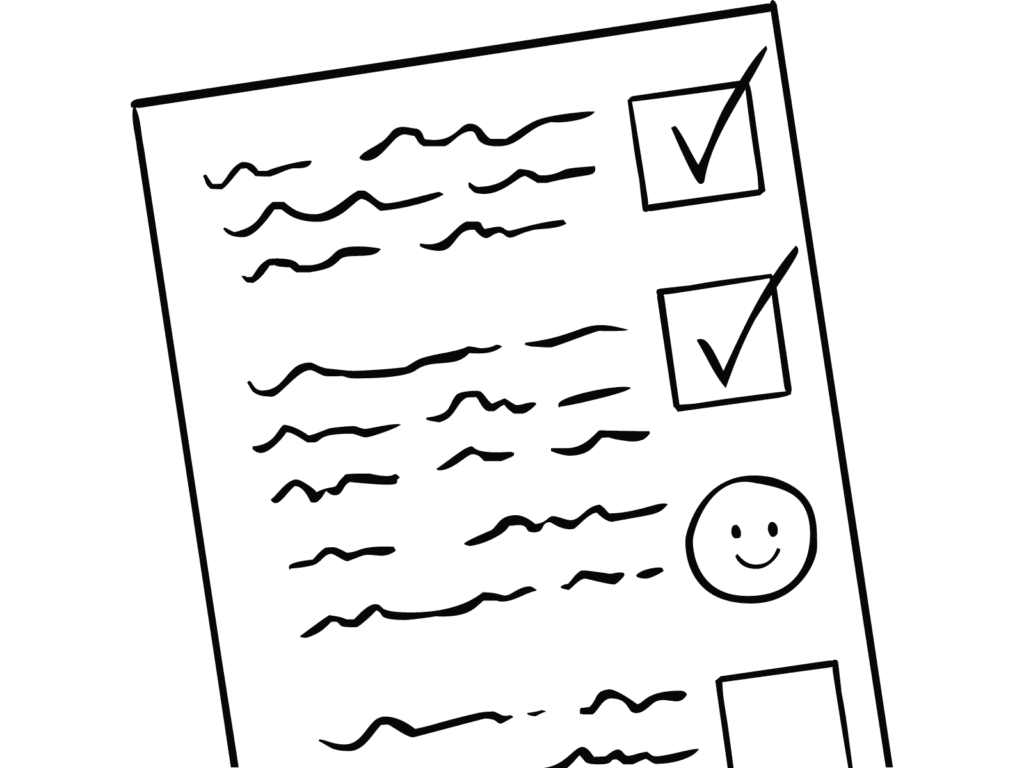 Illustration of checklist as used for Inspiring Check-ins