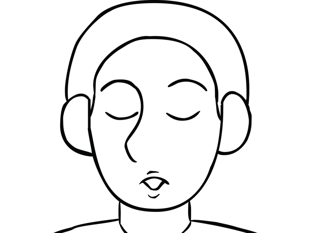 Illustration of man exhaling as part of Mindful Breathing
