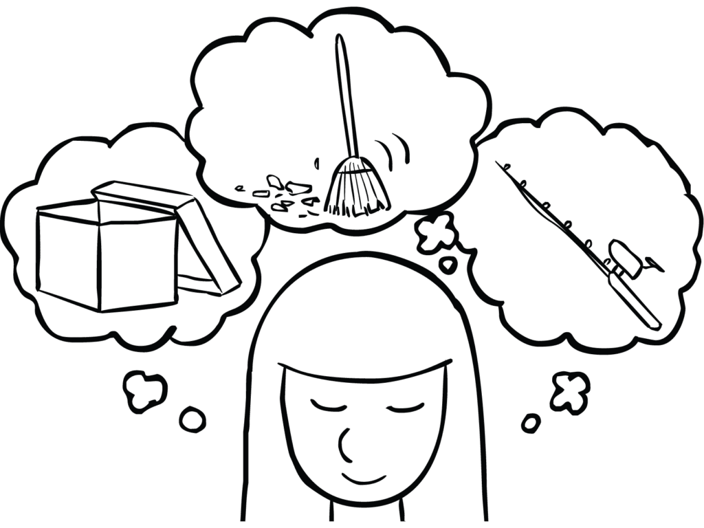 Illustration of woman thinking of three visualisations