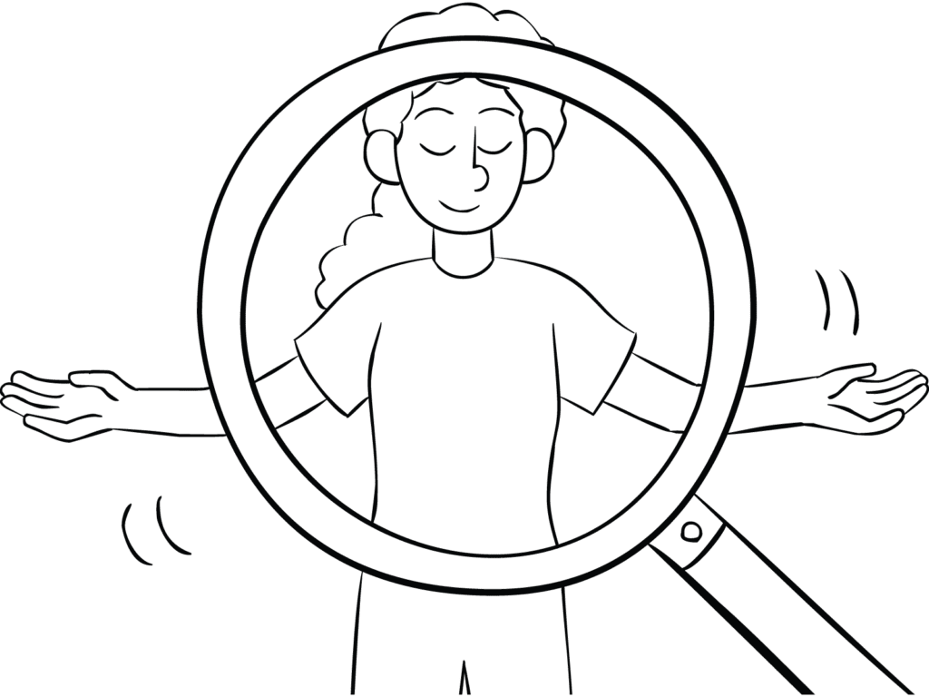Illustration of magnifying glass looking at woman performing Inner World Tour