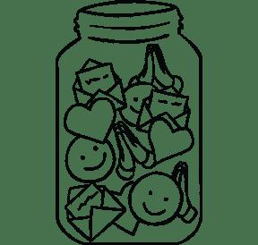 Illustration of a full Gratitude Jar
