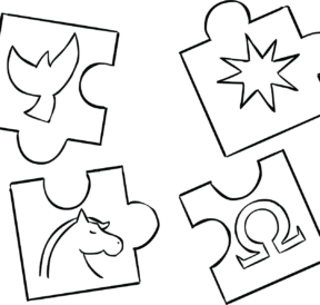 Illustration of four jigsaw pieces of Uniquities Puzzle