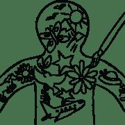 Illustration of body outline filled with inner world art