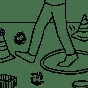 Illustration of person walking through Minefield activity