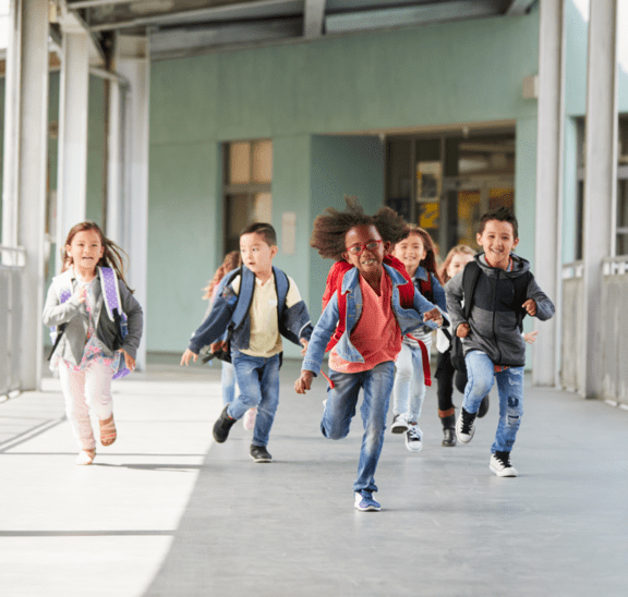 Connecting students in school hallway