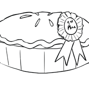 Baked pie with ribbon for winning County Fair pie bake competition
